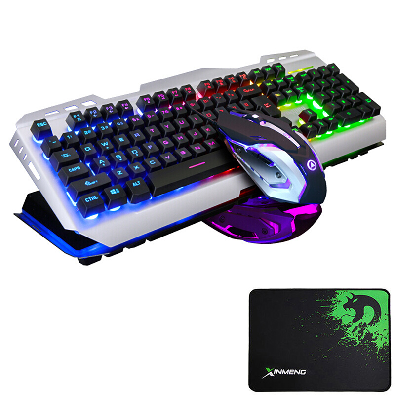 V1 filaire arc-en-ciel LED rétro-éclairé ergonomique Usb clavier de jeu en métal + 3200 DPI optique Gamer souris ensembles PC ordinateur portable + tapis de souris