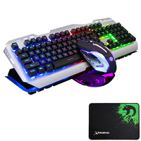 V1 Wired Rainbow LED Backlit Ergonomic Usb Gaming Keyboard Metal + 3200DPI Optical Gamer Mouse Sets PC Laptop Computer+ Mousepad