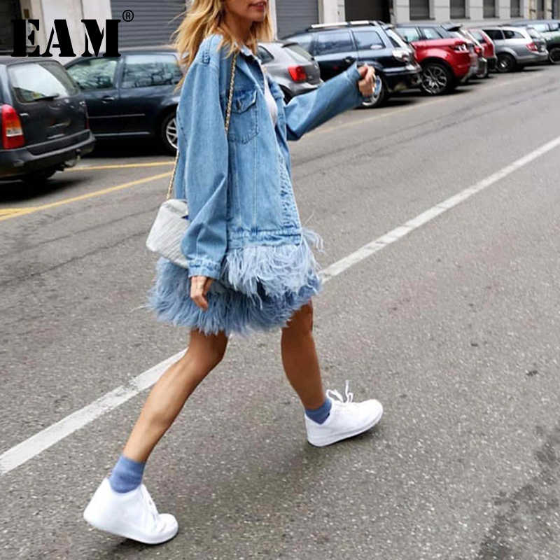 [EAM] 2019 New Autumn Winter Lapel Long Sleeve Blue Feather Split Joint Loose Denim Big Size Jacket Women Coat Fashion JW832