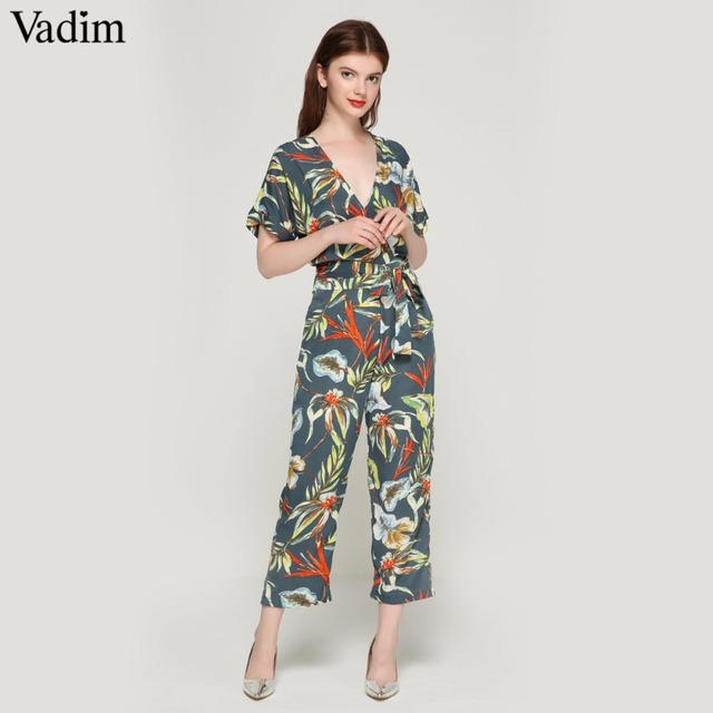 7934c16dfb1 Vadim vintage floral V neck jumpsuits bow tie sashes backless pleated  fashion rompers female summer casual
