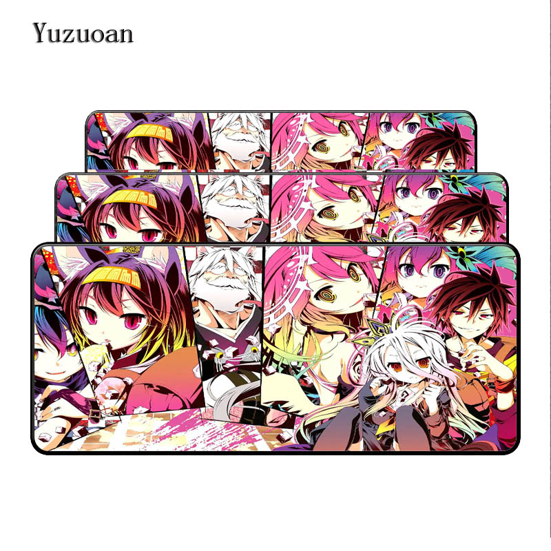 100% Quality Yuzuoan No Game No Life Print Locking Large Edge New Fashion Great For Computer Notbook Mousepad Gaming Desk Mouse Pad As Gift