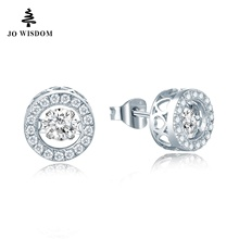 JO WISDOM Silver Stud Earring Fine Jewelry with Natural Topaz Dancing Stone Earrings for Women Wholesale Price Best Gift