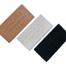 48 個ハンドメイド革衣類のタグ革ラベル手作りタグ手仕事のためのカスタムギフト縫製レザーラベル
