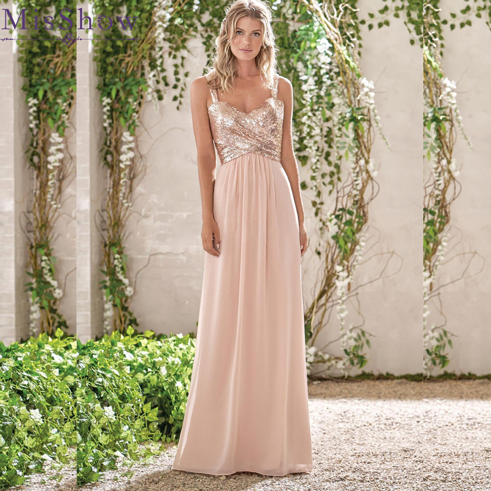 Custom-made elegant Women New Long   Bridesmaid     Dresses   Chiffon Sexy A Line Sequins Formal Wedding Guest Party   Bridesmaid     Dress