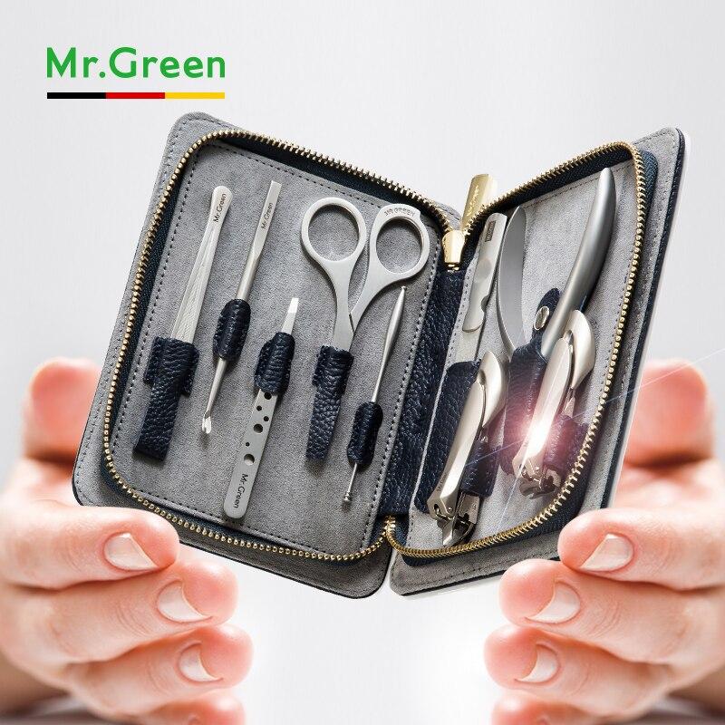 MR. vert pédicure set coupe-ongles en acier inoxydable professionnel coupe-ongles avec étui en cuir manucure ensemble ongles ensemble outil ongles