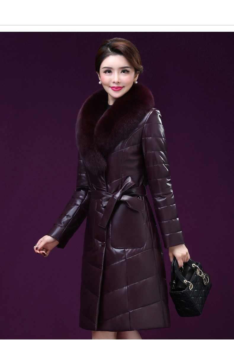 Роскошная Одежда Для женщин натуральная кожаная куртка женская натуральная кожа пуховая куртка новый овечьей шкуре кожаная куртка лисий мех воротника K4211