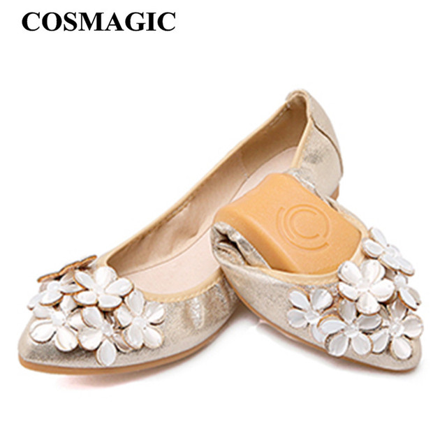 Womens Pointed Toe Ballet Flats Rhinestone GOLD WOMEN