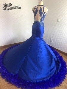 Image 2 - חם נוצת שמלות רויאל בלו אלגנטי בת ים ערב כותנות robe דה soiree נדל תוצרת באיכות גבוהה זול שמלת ערב למסיבה