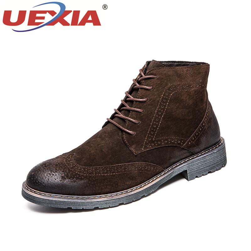 De Top Chaussures Vintage Black Brown Automne Sneaker Casual Mode dark Cheville Hommes Noir brown Uexia Bottes Mâle Martin Haute Cuir En 5gqcw1Z