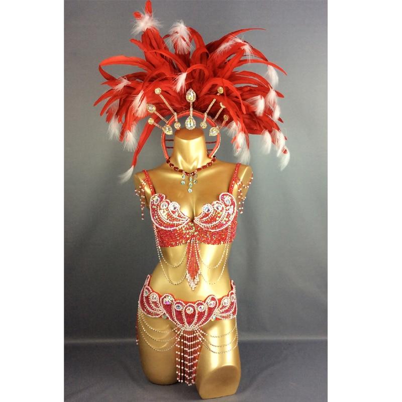 Ilmainen toimitus HOT SALEING paraatti 2015 Seksikäs Samba Rio Carnival puku Feather Headdress # C2152