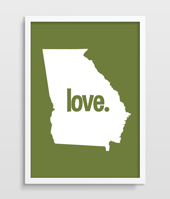 Georgia State Map Art Us Typography Map Art Us States Poster Map Art - Us-map-georgia-state
