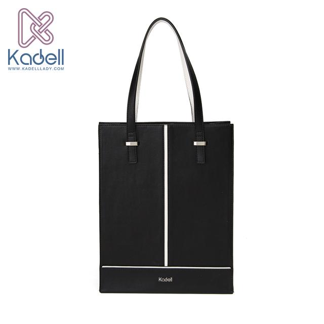 Kadell Yeni Lüks Çanta Kadın Çanta Tasarımcısı 2017 Ofis Bayan Dikey Omuz Çantaları Siyah Beyaz PU Deri Casual Tote Çanta