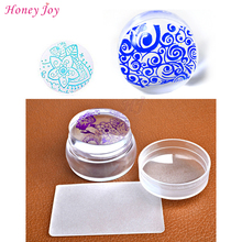 New Design Pure Clear 3.6cm Jelly Silicone Nail Art Stamper Scraper with Cap Transparent Nail Stamp Stamping Tool