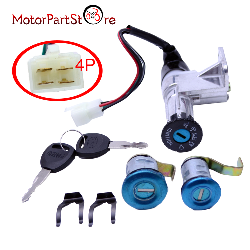 4 Wire Key Ignition Switch Set For 49cc 50cc 110cc 150cc 250cc Four Chinese Moped Scooter Parts Locking Gas Cap Group D10 In Motorbike Ingition From Automobiles