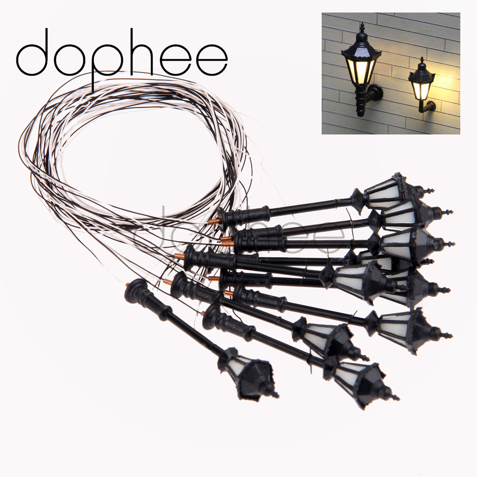 dophee 10pcs Model Architectural Courtyard Park LED Lights Lamppost 3V Single Head Scale 1:100 for Railway & Street Layout