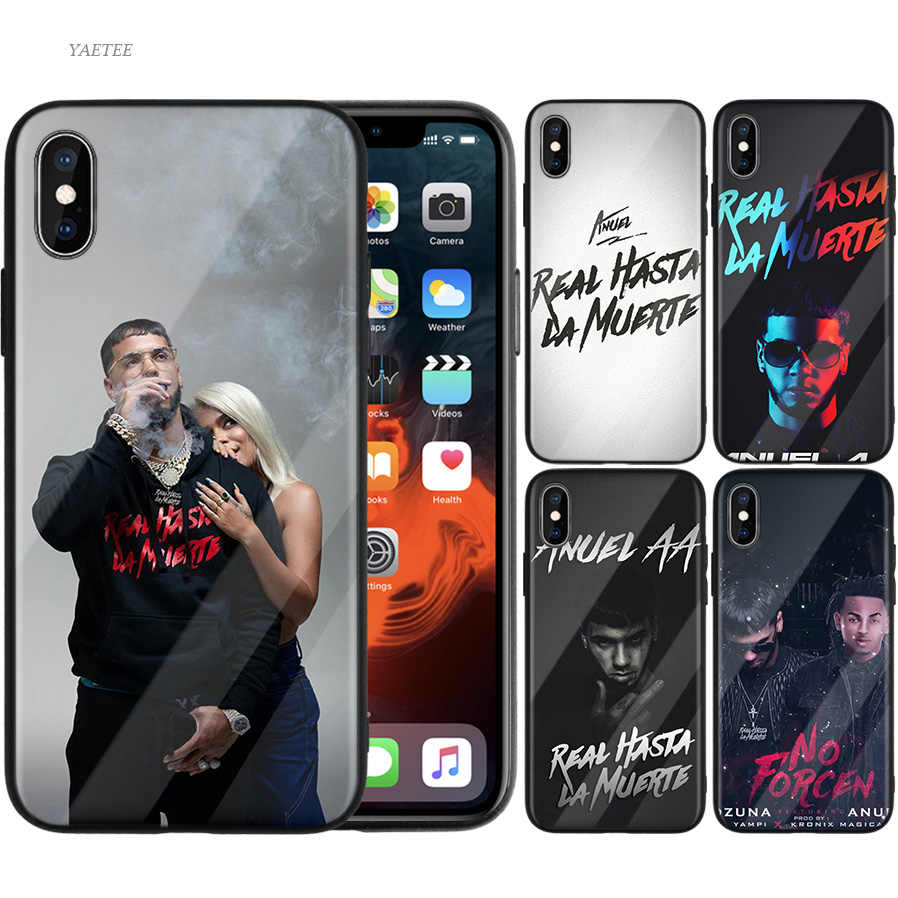 Vintage Anuel Aa Ozuna funda para iPhone 7 funda para iPhone X 7 6 8 Plus funda de vidrio templado para iPhone 11 11Pro XS MAX XR