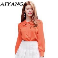 New 2018 Hot Fashion Korean Style OL Chiffon Lace Up Bow Women S Blouses Shirts Stand