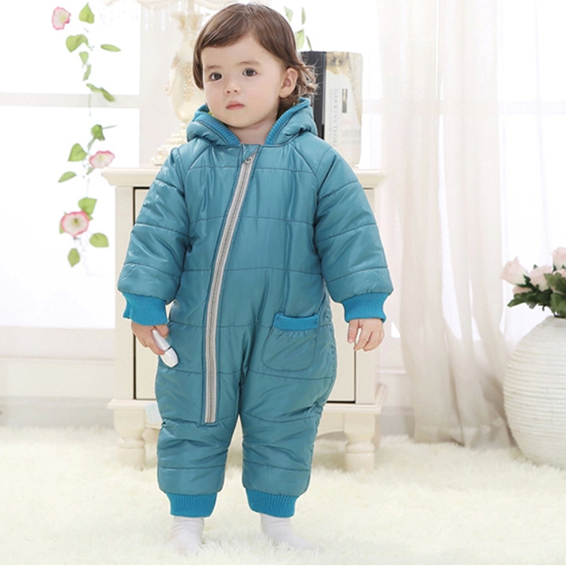 spring Newborn Baby girls winter Rompers boys thick cotton jumpsuit kids warm jacket children outerwear clothes Baby costume 72 christmas 2017 brand new winter newborn infantil baby rompers kid boys and girls clothing real fur jumpsuit down overall jacket