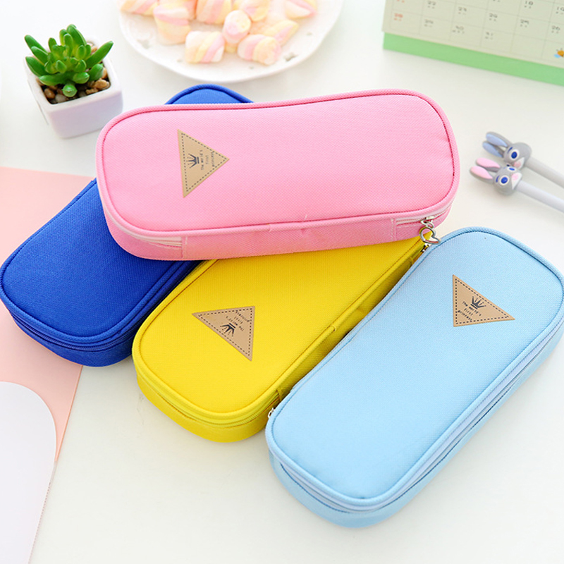 Simple Candy Color Large-capacity Pencil Case Zipper Bag Multi- Function Flip Pencil Bag For School  Stationery Supplies Case