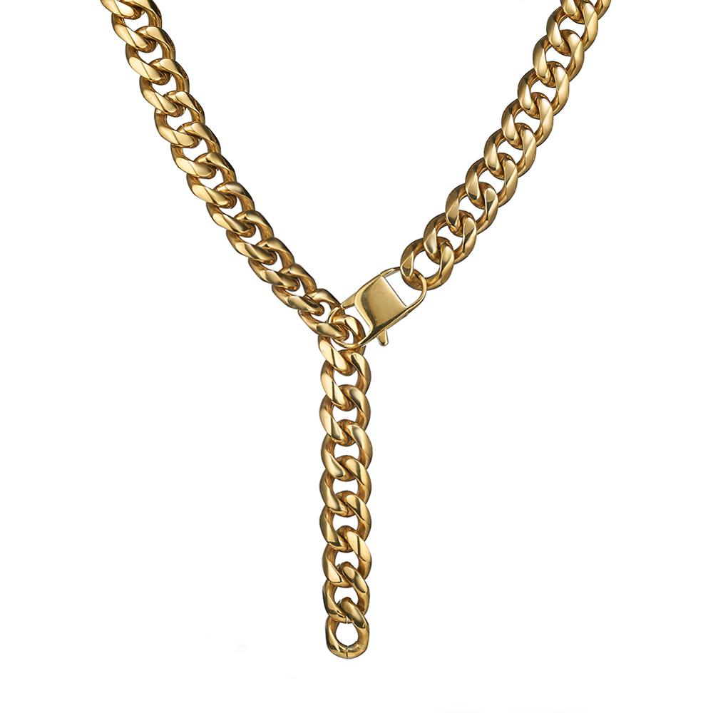 15mm Curb Cuban Link Chain Xxxtentacion Adjustable Choker Tail Hip Hop Rapper Gold Miami Stainless Steel Necklace for Man in Chain Necklaces from Jewelry Accessories