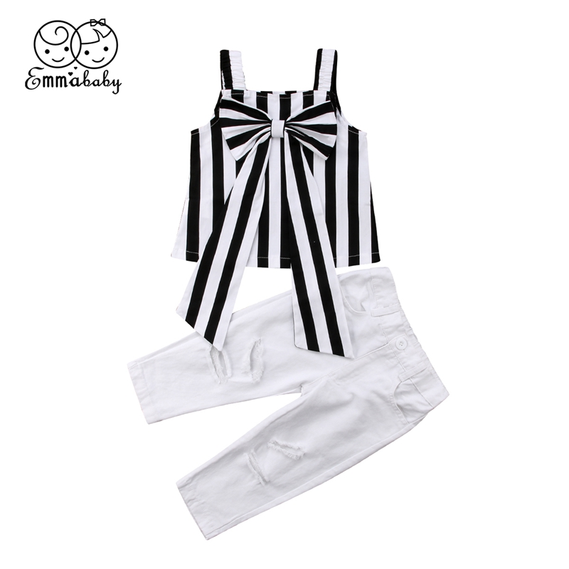 2pcs Toddler Kids Baby Girls Outfits Stripe bow tops+pants Clothes Sets
