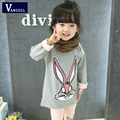 2016 autumn and winter hot new sweater girl children ages 3-9 years old long cotton print, rabbit