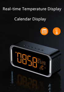Image 5 - Quality Super Bass Bluetooth Speaker Portable Wireless Stereo Altavoz Snooze Digital Alarm Clock AUX TF Thermometer LED Display