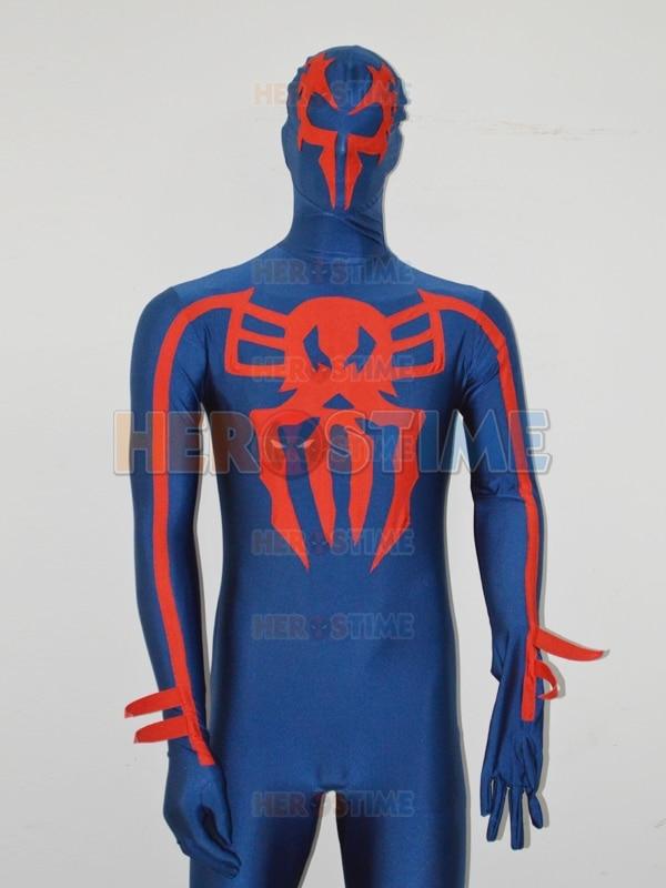Gratis verzending Spider-man 2099 marineblauw spandex aangepaste - Carnavalskostuums - Foto 2