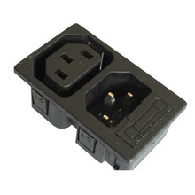 Wholesale 250v 10a IEC320 C13 C14 AC PDU UPS 2way fused power desktop outlet Embedded electrical Panel Receptacle AC socket(China)