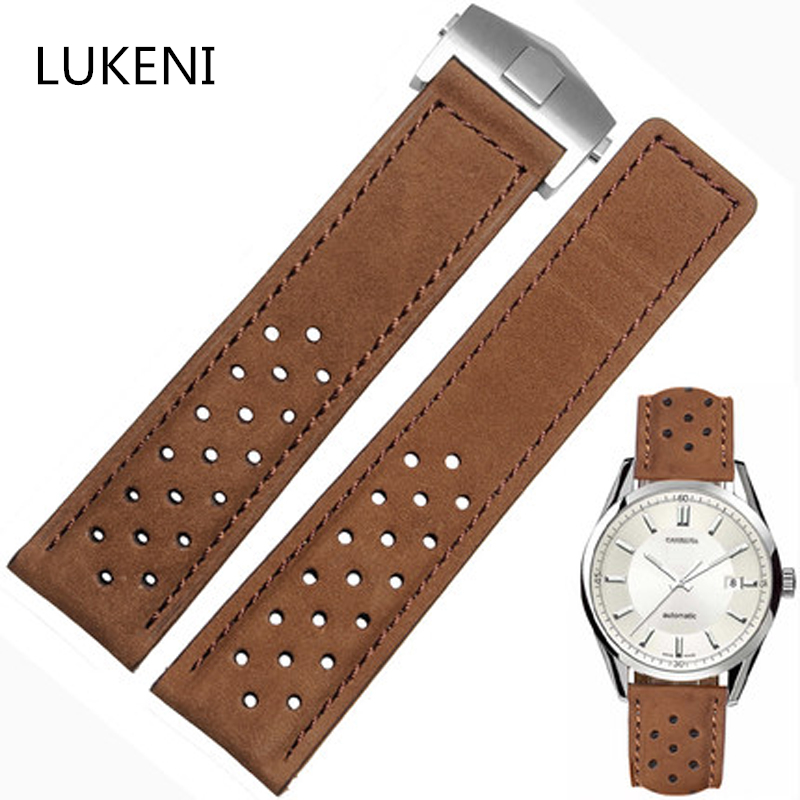 LUKENI 22mm Matte Genuine Leather Watch Strap Light Brown Watchband With Yellow Stitched For TAG CARRERA MIKROG Heuer Logo шапка запорожец zap classic logo sky brown yellow