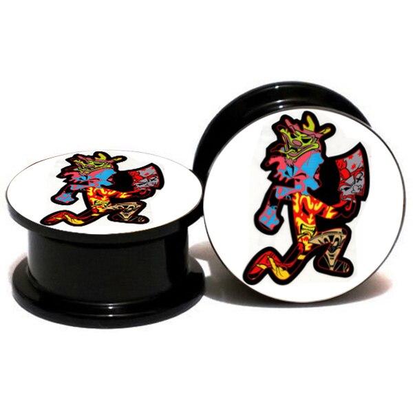 2pcs lot acrylic colorful hatchet man logo ear gauge plug and tunnel