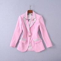 Для женщин пиджаки и куртки 2018 новые осенние модные одной розы Button Blazer элегантные Розовые Пиджаки Femenino дамы пиджак женский