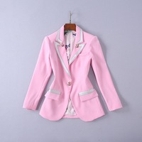 Women Blazers And Jackets 2018 New Autumn Fashion Single Rose Button Blazer Elegant pink Blazers Femenino Ladies Blazer Female