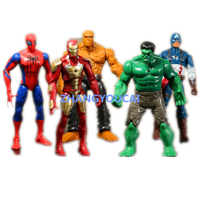 Superheroes Iron Man The Thing Hulk Captaib America Spiderman PVC font b Action b font font