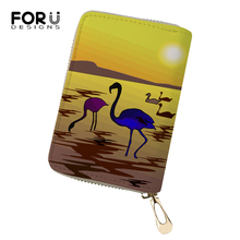 FORUDESIGNS Women Business PU Card Holder Art Sunset Flamingo Printing Pattern Girls Money Purses Bags Fashion Cluth Wallets