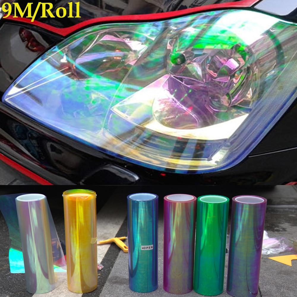 30cm 9M Shiny Chameleon Auto Car Styling Headlights Taillights Translucent Film Lights Turned Tint Vinyl Car
