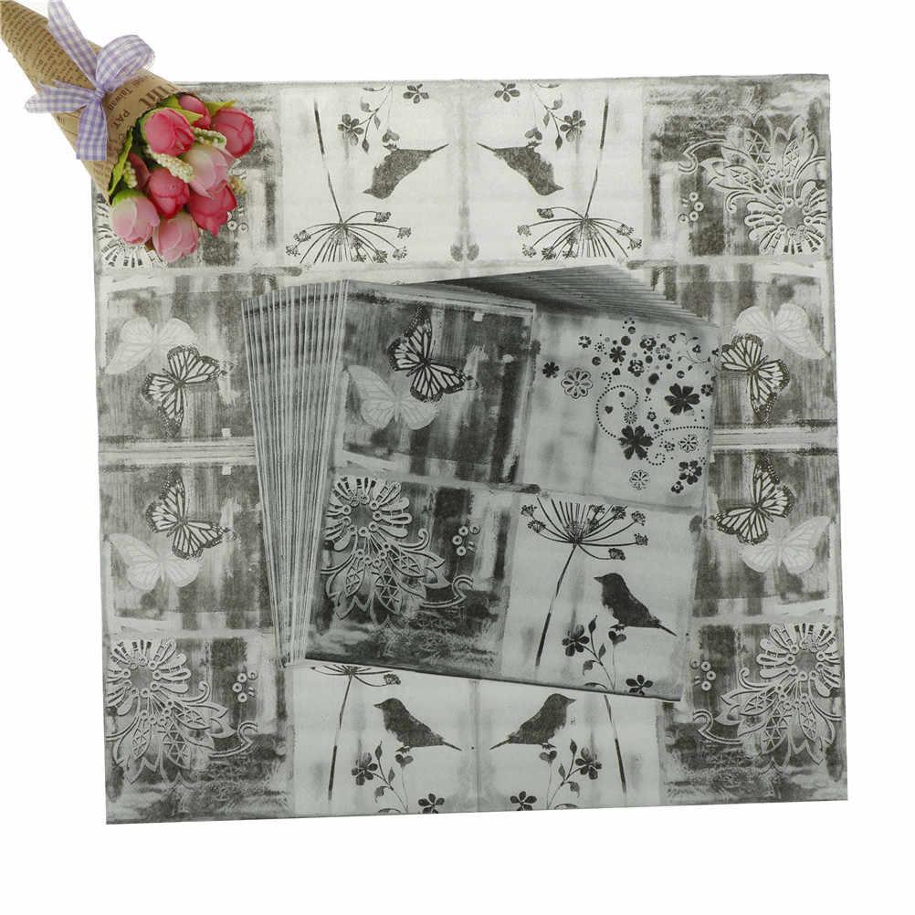 20PCS Vintage Decoupage Wedding Party Festive Decoration Flower Bird Butterfly Black White Paper Napkins Table Tissue