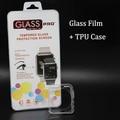 Caso de la cubierta suave de tpu protectora protecter + vidrio templado protector de cine para apple watch 38mm 42mm