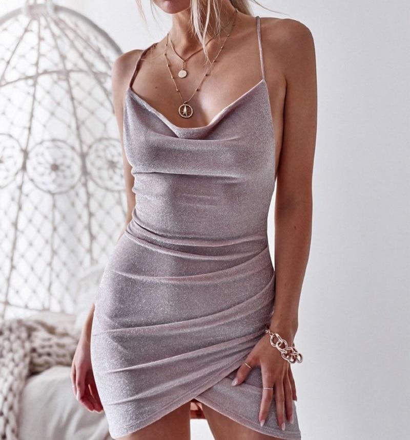 NiceMix 2019 Summer Hot Elegant Ladies Sequins Sexy V-Neck New Casual Vintage Stylish Club Party Slim Dress Fashion