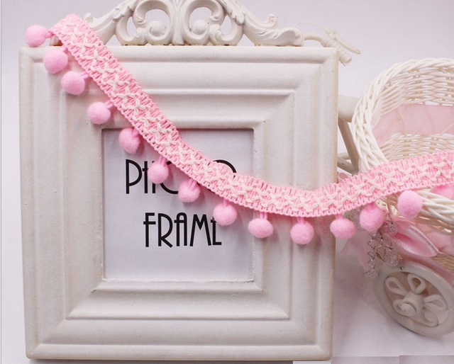 Wholesale lot High quality pink Pompom lace trim diy sewing doll ...