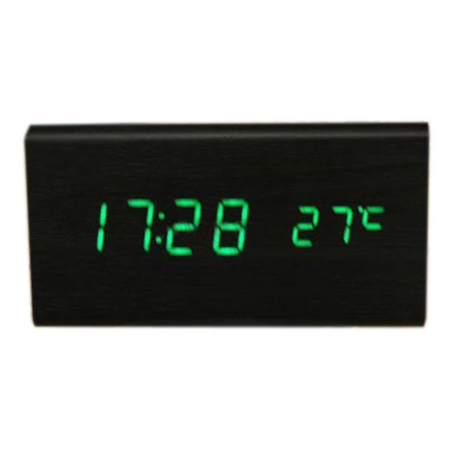 HGHO- Voice Control Calendar Thermometer e Wood Wooden LED Digital Alarm Clock USB/AAA Black Wood Green LED
