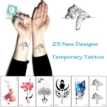 Waterdichte Tijdelijke Tattoos Bloemen Kat Bomen Wolf Flash Tattoo Stickers Naruto Meisjes Body Art Voor Mannen Vertaald Tattoo Mouw(China)