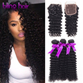 Ms Lula Hair Indian Deep Wave with Closure Deep Curly 3 Bundles With Closure Indian Hair Weave Bundles Ali Sky Hair With Closure
