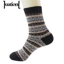 Huation 2019 Hot Selling Men Women Warm Socks Winter Thick Long Vintage Striped Sock Wool Mixture