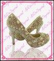 Aidocrystal 2015 люкс ручной горный хрусталь golden party высокий каблук золотые туфли, вечерние туфли с камнями
