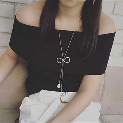 ラインストーン弓ロングネックレスセーターチェーンイミテーションパールペンダントネックレス調節可能なタッセルネックレス女性のための Kolye ローブバヤン