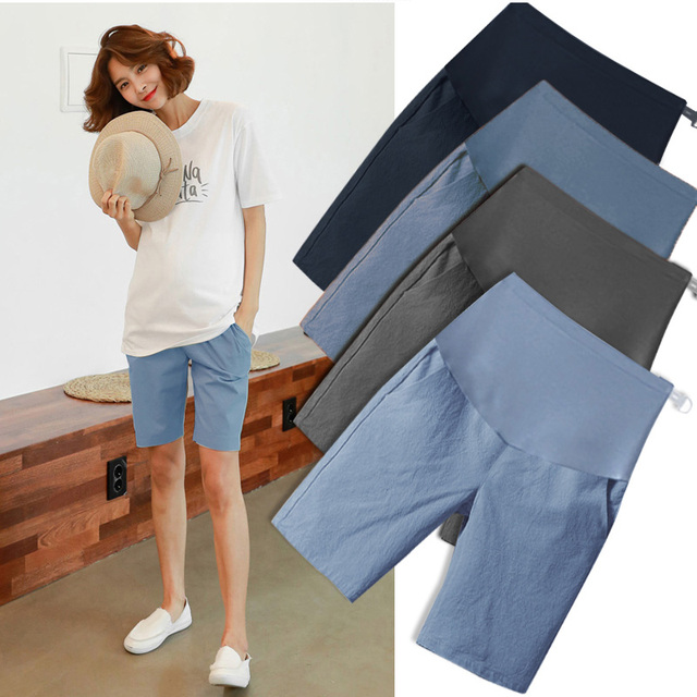 5006# 1/2 Length Thin Cotton Linen Maternity Short Pants Summer Fashion Shorts Clothes for Pregnant Women Casual Belly Pregnancy