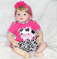 "Reborn dolls toys 22"" girl reborn babies full silicone body blond hair dolls for children gift bebe real reborn bonecas"