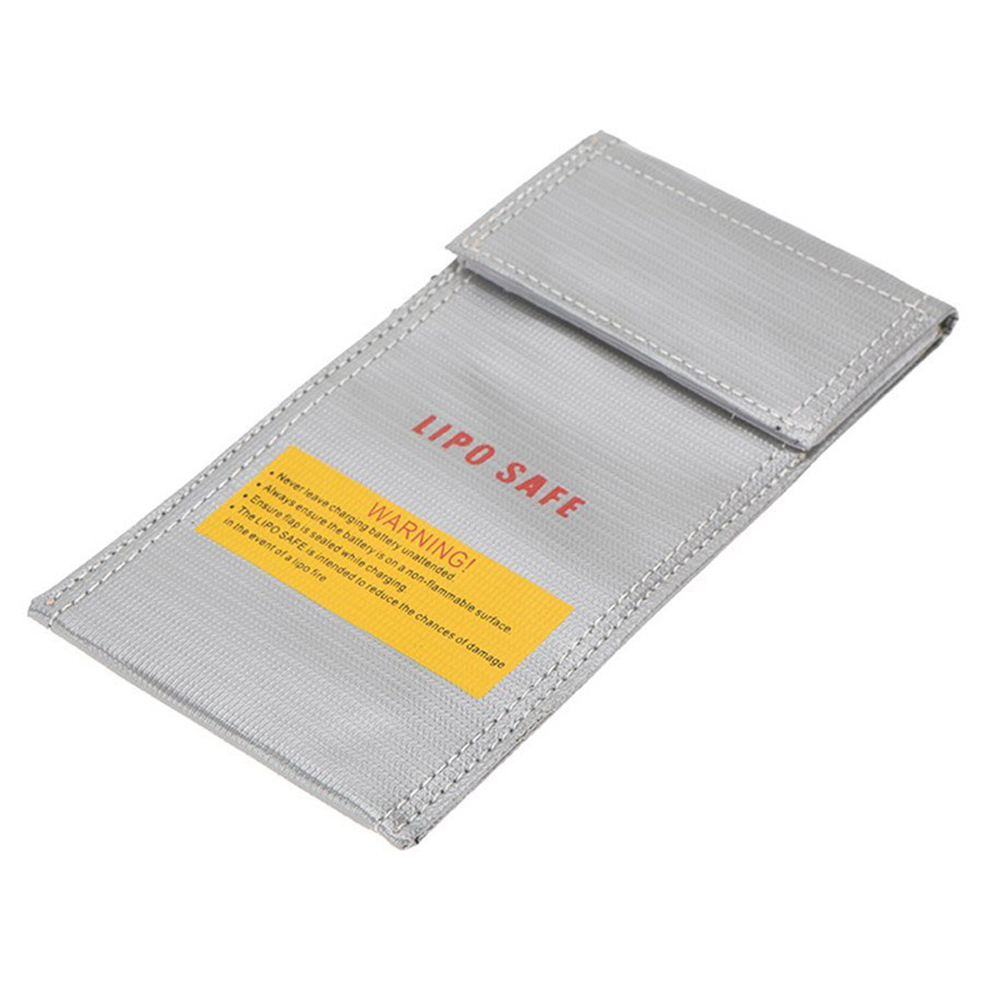 1Pc Fireproof RC LiPo Li-Po Battery Fireproof Safety Guard Safe Bag Charging Sack Battery Safety Guard Silver 20*10cm