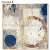 Beautiful Colorful Home Decor Oil Painting Modern Abstract Wall Picture Handmade Golden Circle Oil Painting For Decor Unframed